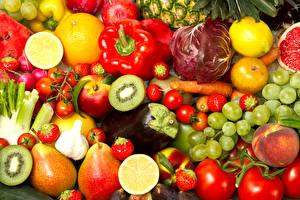Картинка Фрукты Овощи Перец Томаты Виноград Персики Цитрусовые Ягоды Еда