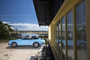 Картинки Порше Винтаж Голубой Кабриолет Сбоку Металлик 1971-73 911 S 2.4 Targa (911) Автомобили
