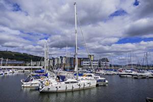 Фотография Парусные Причалы Яхта Облако Уэльс Swansea