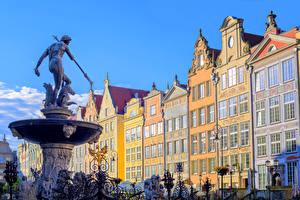 Картинка Польша Здания Памятники Гданьск