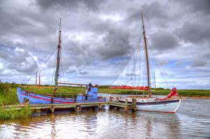 Картинки Дания Реки Парусные Причалы Небо Лодки HDR Nymindegab Природа