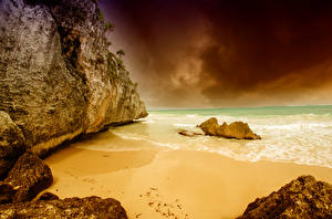 Обои Мексика Побережье Волны Скала Tulum Coast Природа фото
