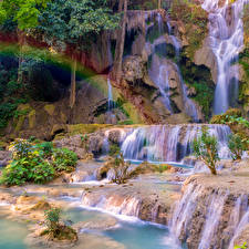 Картинки Водопады Радуга Скала Tat Kuang Si Waterfalls Luang prabang Laos