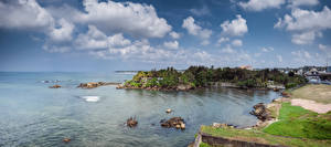 Обои Пейзаж Побережье Камни Небо Шри-Ланка Море Облака Galle Природа фото