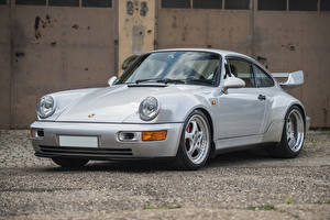 Обои Porsche Серебристый Металлик 1993 911 Carrera RS 3.8 Автомобили фото