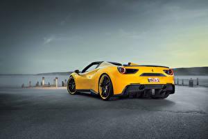 Обои Ferrari Сзади Желтый Novitec 488, Spider Автомобили фото