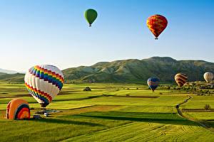Картинка Турция Парки Поля Горы Воздушный шар Goreme national park Anatolia Природа