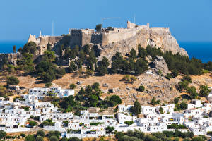 Обои Греция Дома Крепость Rhodes Island Города фото