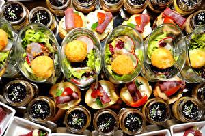 Картинки Бутерброды Салаты Сладости Много Продукты питания