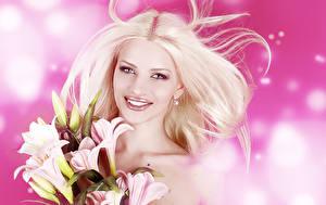 Картинка Лилии Блондинка Улыбка Мейкап Девушки