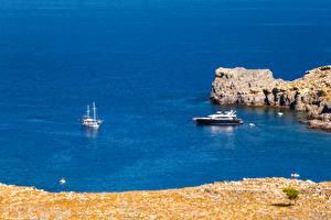 Обои Греция Побережье Яхта Море Rhodes Island Природа фото