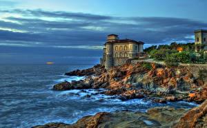 Обои Италия Побережье Замки HDR Boccale Castle Livorno Города фото