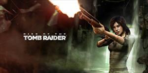 Обои Tomb Raider Rise of the Tomb Raider Ружьё Лара Крофт Игры Девушки фото