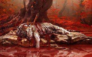 Обои Far Cry 4 Тигры Кровь Игры