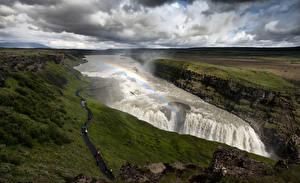 Фотографии страна гейзеров Водопады Радуга Тропинка Gullfoss, Hvita River