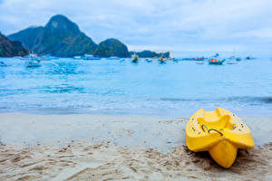 Фото Филиппины Тропики Побережье Лодки Море Песок