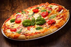 Картинки Быстрое питание Пицца Базилик душистый Продукты питания