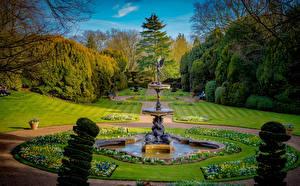 Картинки Англия Парк Фонтаны Газон Кусты Ascott House Wing Buckinghamshire Природа