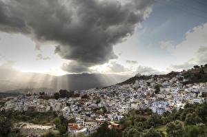 Обои Марокко Дома Небо Облака Chefchaouen город