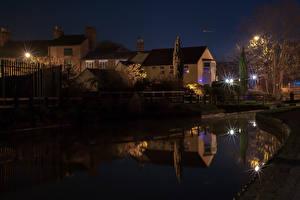 Обои Англия Дома Ночь Водный канал Города фото