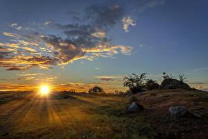 Фото Рассветы и закаты Пейзаж Небо Облачно Солнце Лучи света Природа