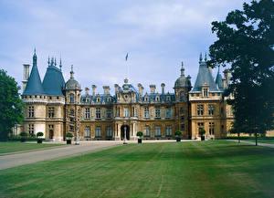 Обои Англия Дворец Газон Blenheim Palace in Woodstock Города фото