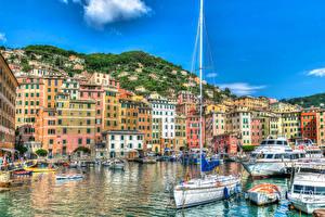 Фото Италия Дома Горы Причалы Парусные Яхта Лигурия Camogli Города