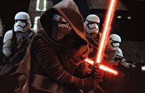 Фотография Звёздные войны: Пробуждение Силы Звездные войны Воин Клоны солдаты Световой меч Капюшон Мечи lightsaber кино Фэнтези