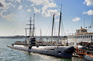 Картинки Подводные лодки Сан-Диего Калифорнии Музеи Maritime Museum, Bay Армия