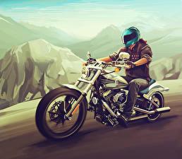 Фотографии Рисованные Harley-Davidson Мотоциклист Шлем