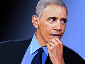 Картинка Мужчины Барак Хуссейн Обама Лицо Президент Знаменитости