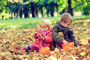 Фотографии Осень Вдвоем Мальчик Девочка Куртках Листья Дети