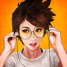 Картинки Рисованные Overwatch Шатенка Волосы Очки Лицо Tracer, Lena Oxton Игры