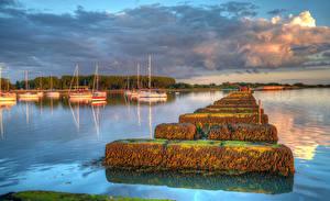 Обои Англия Реки Причалы Парусные Яхта Hayling Island Природа фото