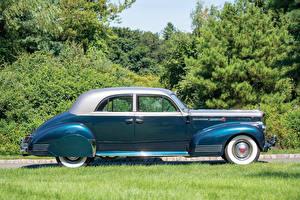 Фотографии Старинные Голубой Сбоку 1941 Packard 180 Custom Super Eight Sport Brougham by LeBaron Машины