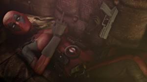 Обои Герои комиксов Deadpool герой Маски Пистолетом Lady