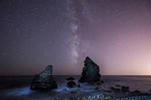 Фотография Пейзаж Море Небо Звезды Скале Ночью Природа