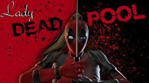 Обои Герои комиксов Deadpool герой Маски Мечи Lady