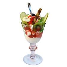 Картинки Сладости Мороженое Фрукты Бокалы Белый фон Пища