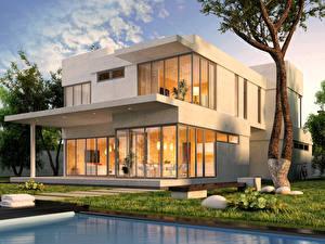 Обои Дома Особняк Дизайн Города 3D_Графика фото