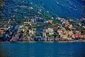 Обои Италия Побережье Горы Дома Amalfi Coast, Gulf of Salerno Города