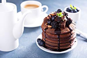 Обои Блины Черника Ежевика Шоколад Кофе Кувшин Еда фото