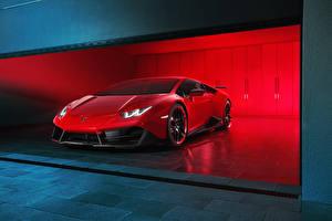Фото Lamborghini Красный Люксовые 2016 Novitec Torado Huracán LP 580-2 Автомобили