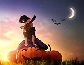 Обои Тыква Хеллоуин Небо Полумесяц Девочки Шляпы Луны Юбке Дети