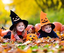 Фотографии Хеллоуин Мальчишки Девочки Шляпа Лист Дети