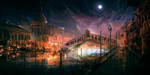 Фотография Италия Рисованные Мосты Венеция Ночь Города