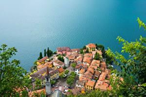 Обои Дома Озеро Италия Сверху Lake Como Varenna Lombardy Города фото