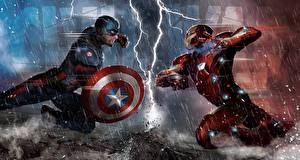 Фотографии Битвы Железный человек герой Капитан Америка герой Дождь Щит Молния Captain America: Civil War Фильмы