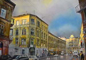 Картинка Живопись Рисованные Дома Улица Города