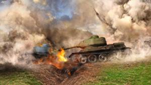 Картинки Танк Взрывы Дым Т-34 Армия